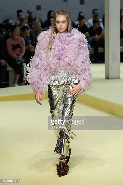 A model walks the runway at the Marques'Almeida show during London Fashion Week Spring/Summer collections 2017 on September 20 2016 in London United...