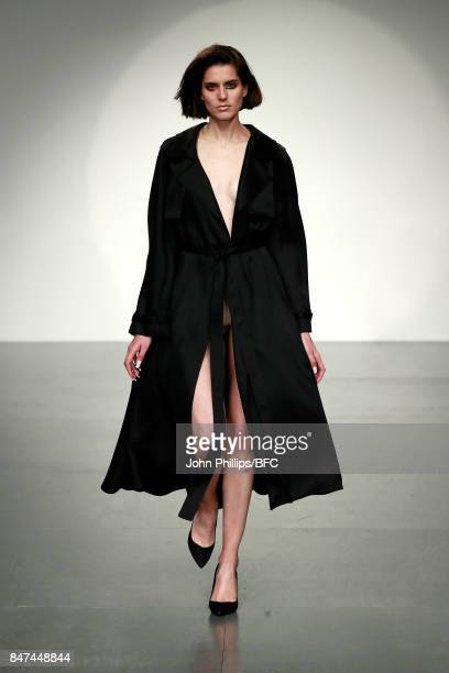A model walks the runway at the Marta Jakubowski show during London Fashion Week September 2017 on September 15 2017 in London England