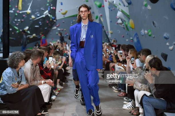 A model walks the runway at the Martine Rose Show Spring Summer 2018 fashion show during London Menswear Fashion Week on June 11 2017 in London...
