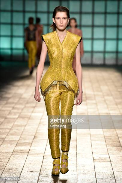 A model walks the runway at the Mary Katrantzou Autumn Winter 2018 fashion show during London Fashion Week on February 18 2018 in London United...