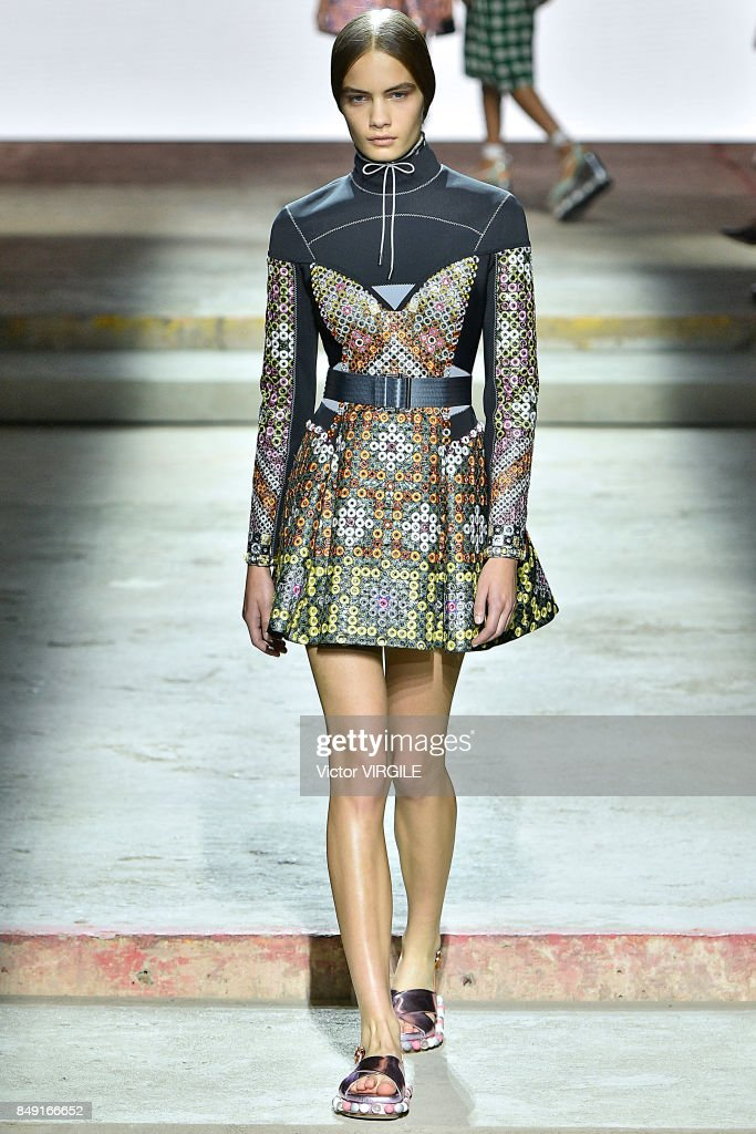 A model walks the runway at the Mary Katrantzou Ready to Wear Spring/Summer 2018 fashion show during London Fashion Week September 2017 on September 17, 2017 in London, England.
