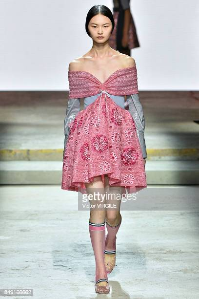 A model walks the runway at the Mary Katrantzou Ready to Wear Spring/Summer 2018 fashion show during London Fashion Week September 2017 on September...
