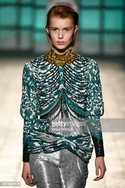 A model walks the runway at the Mary Katrantzou Ready to Wear Fall/Winter 20182019 fashion show during London Fashion Week February 2018 on February...