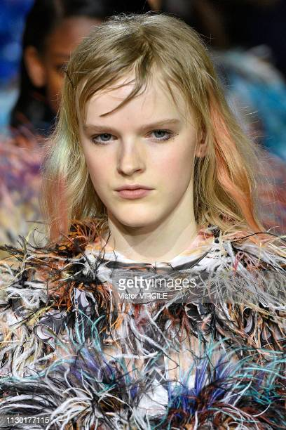 A model walks the runway at the Mary Katrantzou Ready to Wear Fall/Winter 20192020 fashion show during London Fashion Week February 2019 on February...