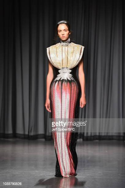 A model walks the runway at the Mary Katrantzou show during London Fashion Week September 2018 at The Roundhouse on September 15 2018 in London...