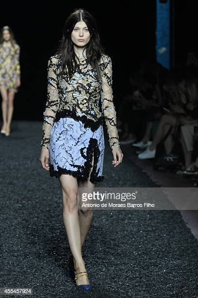 A model walks the runway at the Mary Katrantzou show during London Fashion Week Spring Summer 2015 at on September 14 2014 in London England