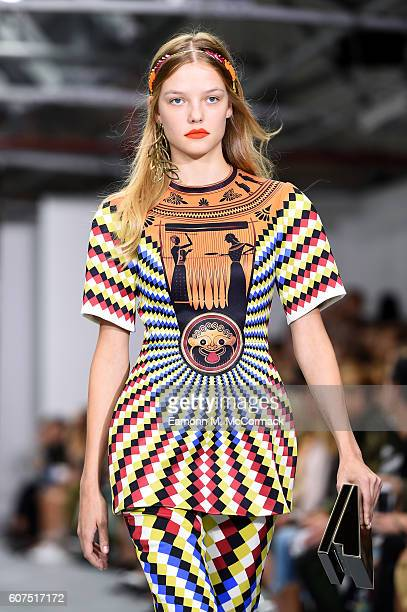 A model walks the runway at the Mary Katrantzou show during London Fashion Week Spring/Summer collections 2017 on September 18 2016 in London United...
