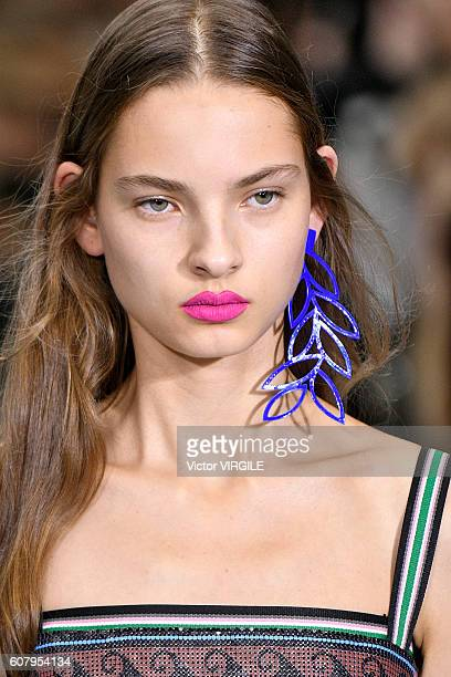A model walks the runway at the Mary Katrantzou show during London Fashion Week Spring/Summer collections 2016/2017 on September 18 2016 in London...