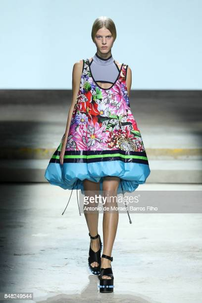 A model walks the runway at the Mary Katrantzou show during London Fashion Week September 2017 on September 17 2017 in London England