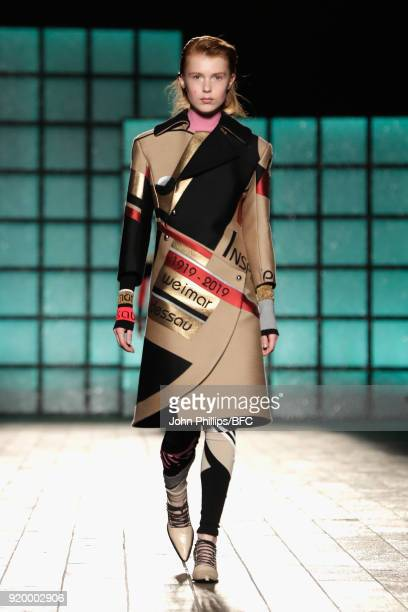 A model walks the runway at the Mary Katrantzou show during London Fashion Week February 2018 on February 18 2018 in London England