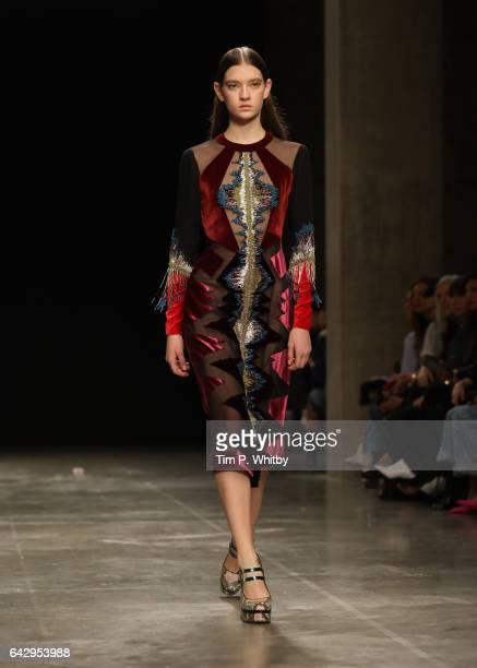 A model walks the runway at the Mary Katrantzou show during the London Fashion Week February 2017 collections on February 19 2017 in London England