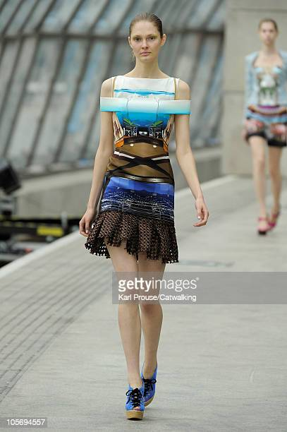 A model walks the runway at the Mary Katrantzou Spring Summer 2011 fashion show during London Fashion Week on September 19 2010 in London City