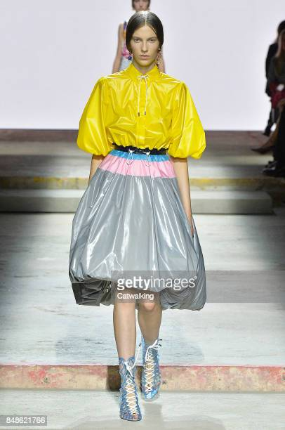 A model walks the runway at the Mary Katrantzou Spring Summer 2018 fashion show during London Fashion Week on September 17 2017 in London United...