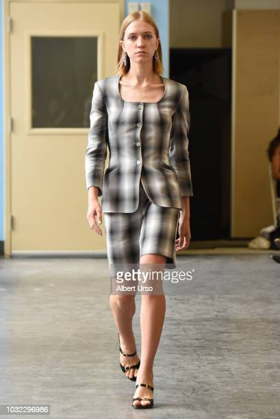 A model walks the runway at the Maryam Nassir Zadeh show during New York Fashion Week on September 12 2018 in New York City