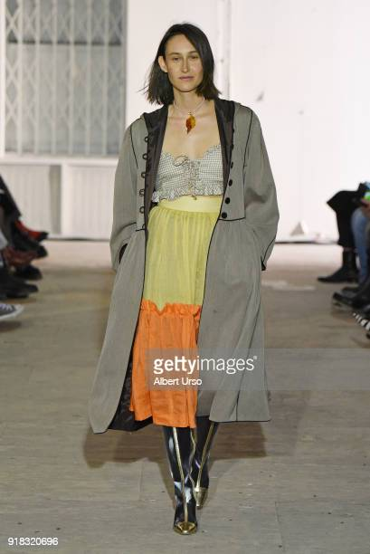 A model walks the runway at the Maryam Nassir Zadeh show during New York Fashion Week The Shows on February 14 2018 in New York City