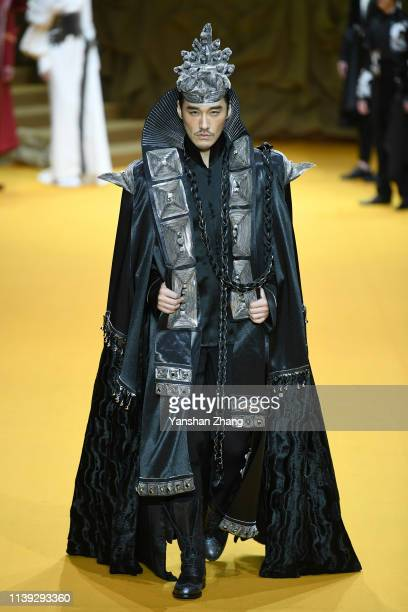 Model walks the runway at the Maryma show at China Fashion Week A/W 2019/2020 on March 30, 2019 in Beijing, China.