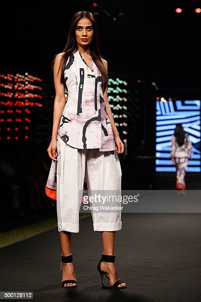 A model walks the runway at the Masaba Gupta show during day 2 of Blenders Pride Fashion Tour held at the Grand Hyatt on December 5 2015 in Mumbai...