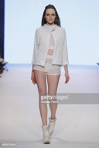 A model walks the runway at the Masha Schubbach Fashionyard show during Platform Fashion January 2017 at Areal Boehler on January 29 2017 in...