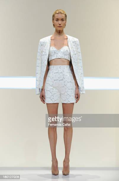 A model walks the runway at the Mathieu Mirano fashion show during MercedesBenz Fashion Week Spring 2014 at The Studio at Lincoln Center on September...