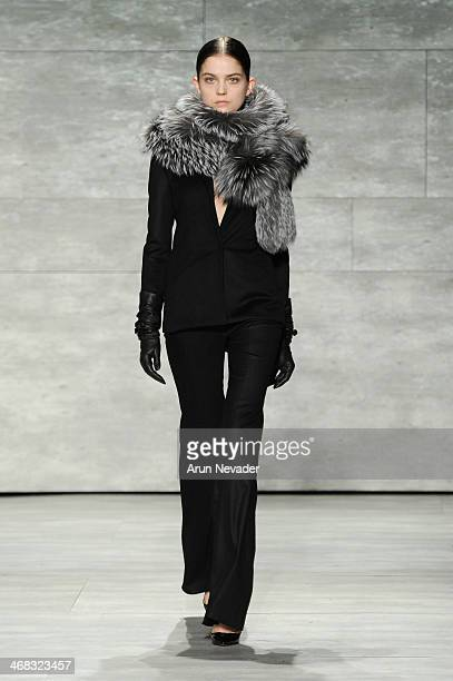 A model walks the runway at the Mathieu Mirano fashion show during MercedesBenz Fashion Week Fall 2014 at The Pavilion at Lincoln Center on February...