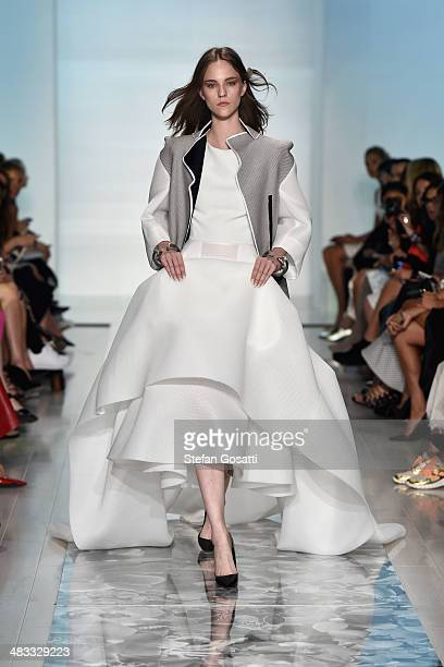 A model walks the runway at the Maticevski show during MercedesBenz Fashion Week Australia 2014 at Carriageworks on April 8 2014 in Sydney Australia