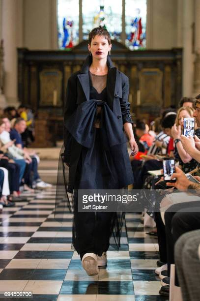 A model walks the runway at the Matthew Miller show during the London Fashion Week Men's June 2017 collections on June 10 2017 in London England
