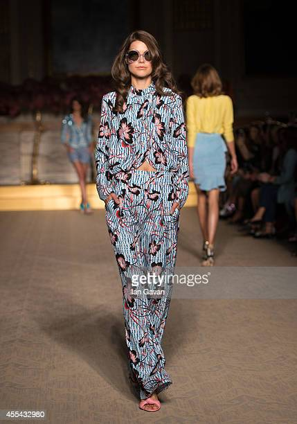 A model walks the runway at the Matthew Williamson show during London Fashion Week Spring Summer 2015 on September 14 2014 in London England