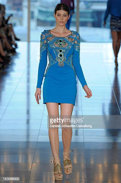 Model walks the runway at the Matthew Williamson Spring Summer 2013 fashion show during London Fashion Week on September 16, 2012 in London, United...