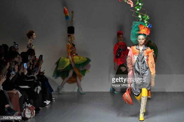 A model walks the runway at the Matty Bovan Ready to Wear Spring/Summer 2019 fashion show during London Fashion Week September 2018 on September 14...