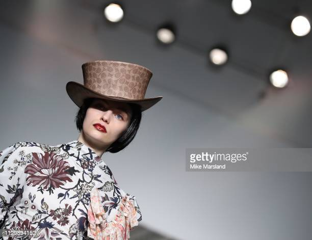 A model walks the runway at the Matty Bovan show during London Fashion Week February 2019 at the BFC Show Space on February 15 2019 in London England