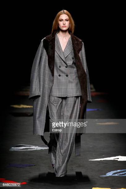 A model walks the runway at the Maurizio Pecoraro show during Milan Fashion Week Fall/Winter 2017/18 on February 26 2017 in Milan Italy