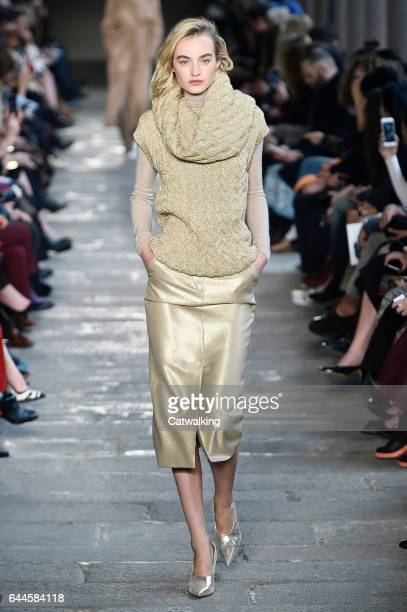 A model walks the runway at the Max Mara Autumn Winter 2017 fashion show during Milan Fashion Week on February 23 2017 in Milan Italy