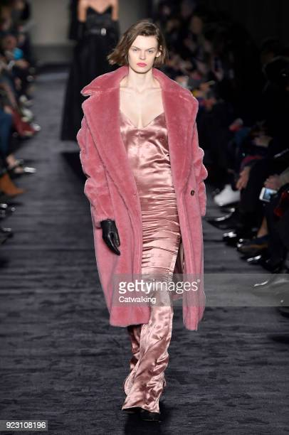 A model walks the runway at the Max Mara Autumn Winter 2018 fashion show during Milan Fashion Week on February 22 2018 in Milan Italy