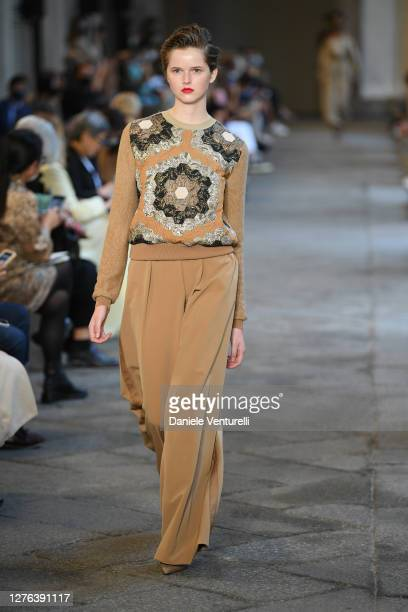 Model walks the runway at the Max Mara fashion show during the Milan Women's Fashion Week on September 24, 2020 in Milan, Italy.