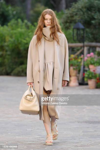 Model walks the runway at the Max Mara Resort 2022 Collection Show on June 29, 2021 in Ischia, Italy.