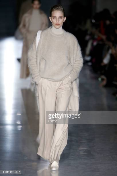 Model walks the runway at the Max Mara show at Milan Fashion Week Autumn/Winter 2019/20 on February 20, 2019 in Milan, Italy.