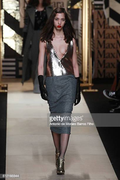A model walks the runway at the Max Mara show during Milan Fashion Week Fall/Winter 2016/17 on February 25 2016 in Milan Italy