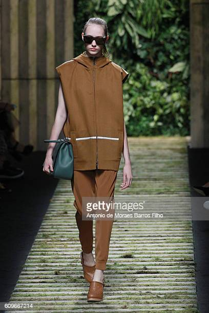 Model walks the runway at the Max Mara show during Milan Fashion Week Spring/Summer 2017 on September 22, 2016 in Milan, Italy.