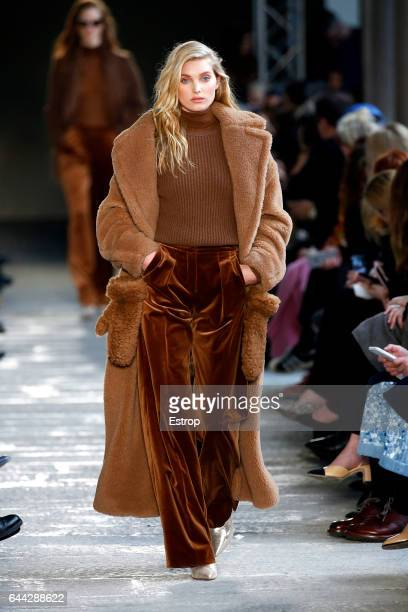 A model walks the runway at the Max Mara show during Milan Fashion Week Fall/Winter 2017/18 on February 23 2017 in Milan Italy