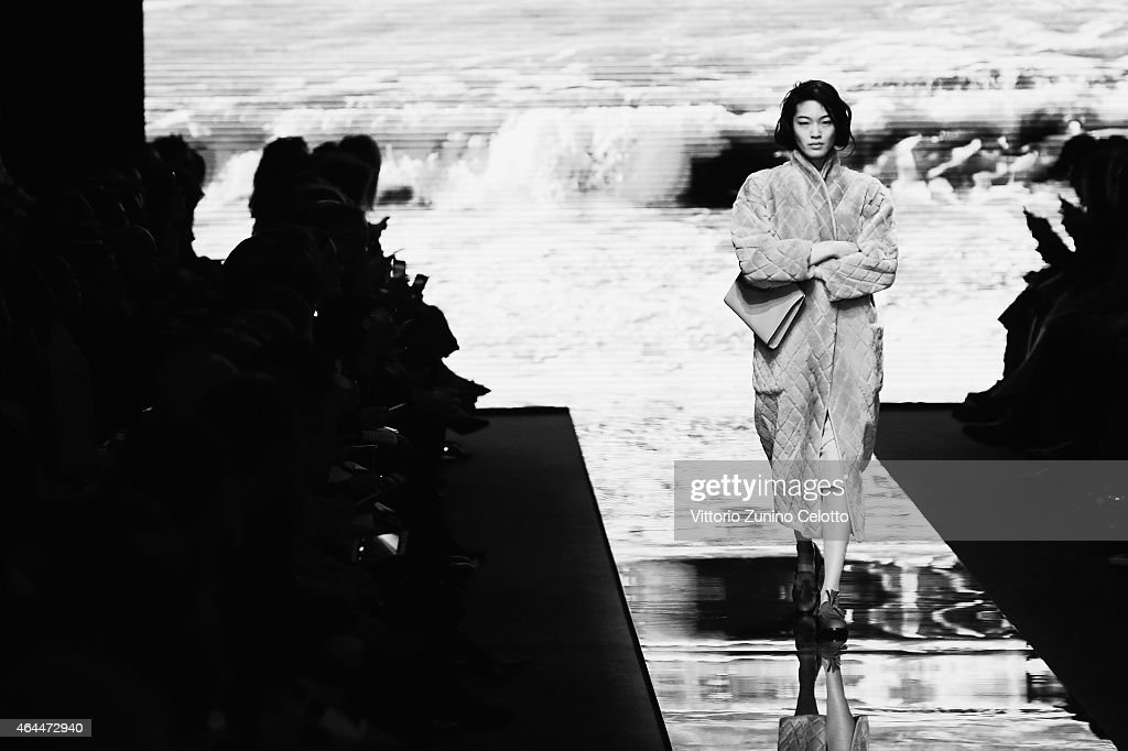 A model walks the runway at the Max Mara show during the Milan Fashion Week Autumn/Winter 2015 on February 26, 2015 in Milan, Italy.