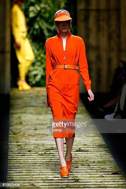Model walks the runway at the Max Mara show Milan Fashion Week Spring/Summer 2017 on September 22, 2016 in Milan, Italy.