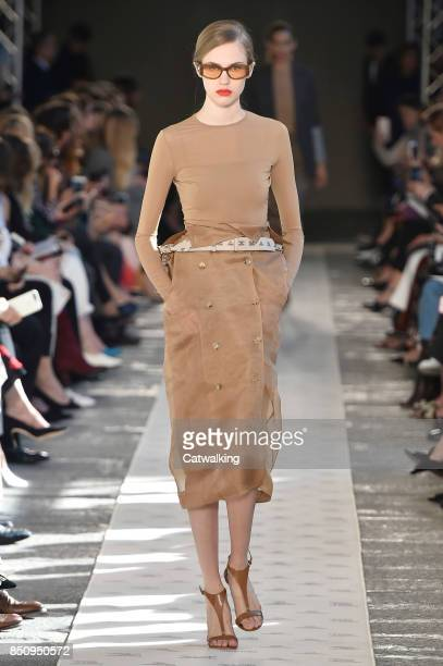 A model walks the runway at the Max Mara Spring Summer 2018 fashion show during Milan Fashion Week on September 21 2017 in Milan Italy