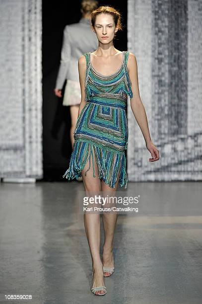 A model walks the runway at the Maxime Simoens fashion show during Paris Haute Couture Fashion Week on January 26 2011 in Paris France