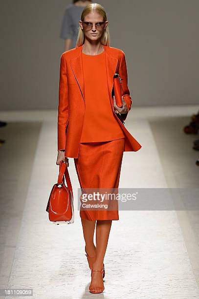 A model walks the runway at the MaxMara Spring Summer 2014 fashion show during Milan Fashion Week on September 19 2013 in Milan Italy