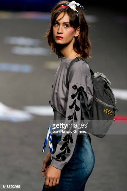 Model walks the runway at the Maya Hansen show during the Mercedes-Benz Fashion Week Madrid Spring/Summer 2018 at Ifema on September 17, 2017 in...