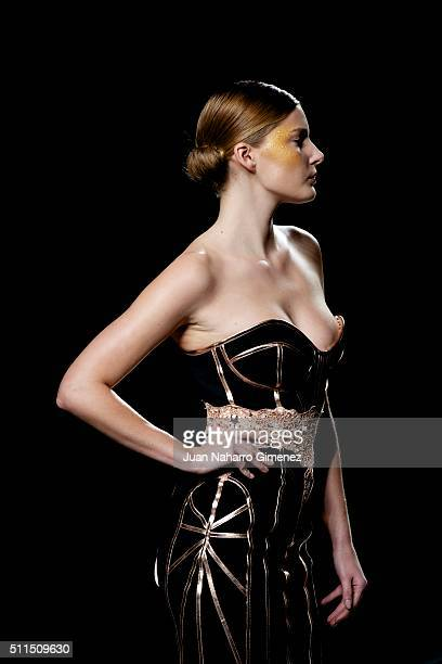 Model walks the runway at the Maya Hansen show during the Mercedes-Benz Madrid Fashion Week Autumn/Winter 2016/2017 at Ifema on February 21, 2016 in...