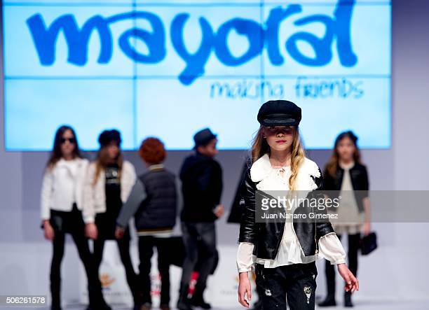 A model walks the runway at the Mayoral show during Kids Fashion Week at Pabellon de Cristal on January 22 2016 in Madrid Spain