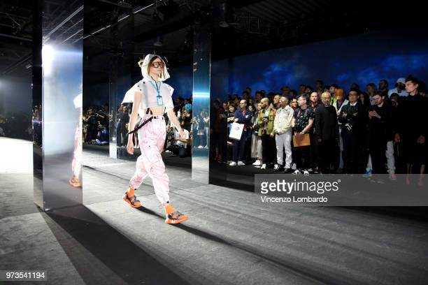 Model walks the runway at the MCM Fashion Show Spring/Summer 2019 during the 94th Pitti Immagine Uomo on June 13, 2018 in Florence, Italy.