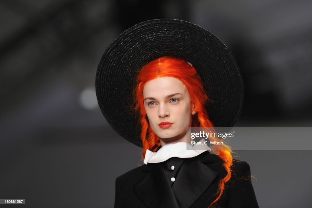 A model walks the runway at the Meadham Kirchhoff show during London Fashion Week SS14 at TopShop Show Space on September 17, 2013 in London, England.