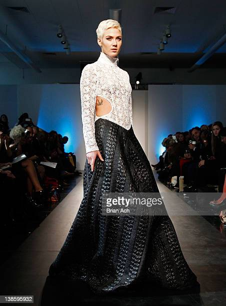 A model walks the runway at the Megla M runway show during Nolcha Fashion Week New York at the Alvin Ailey Studios on February 9 2012 in New York City